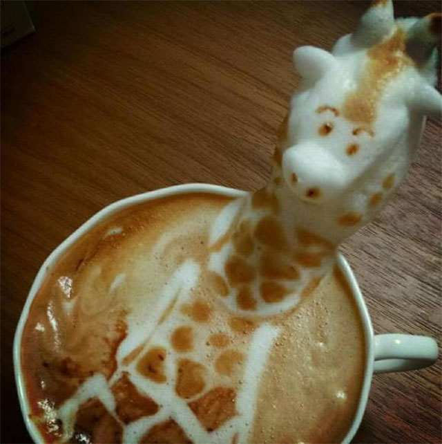 3D Giraffe Coffee Art Design // Creative 3D Coffee Latte Art Pictures, Images & Designs