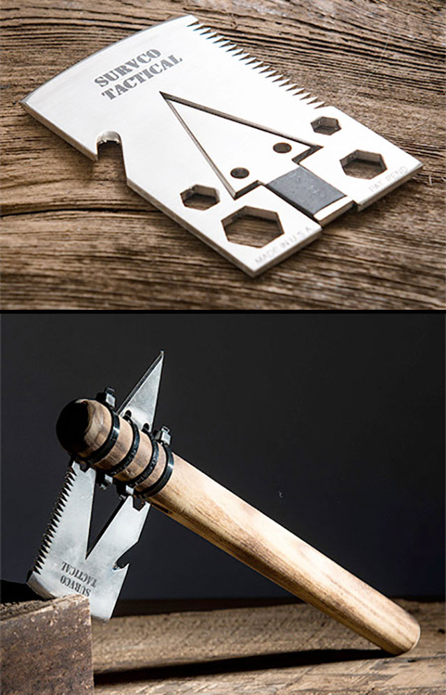 Survival Tactics Transformable Axe Business Card // 255 Creative & Unique Business Cards Design Inspiration & Ideas