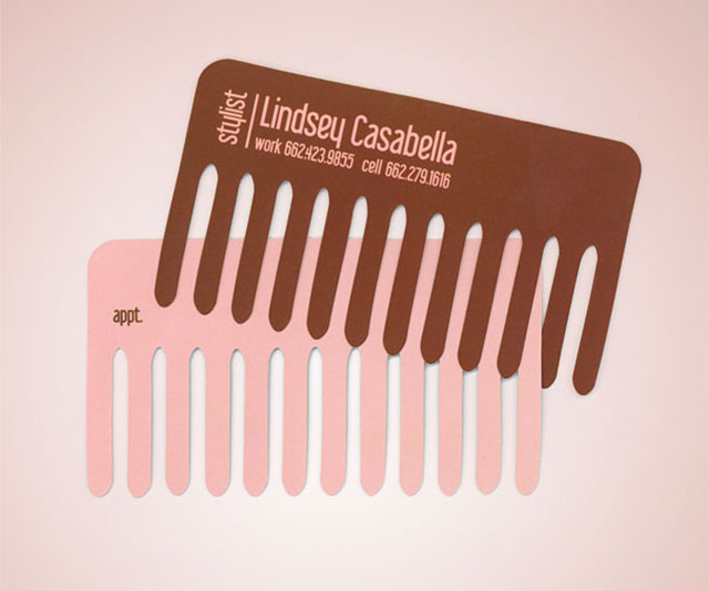 Comb Hair Stylist Business Card // 255 Creative & Unique Business Cards Design Inspiration & Ideas