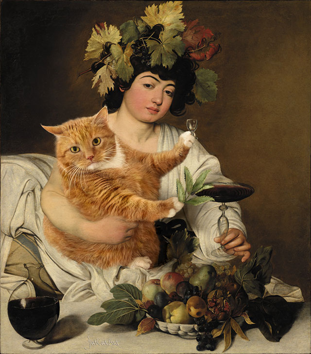 Caravaggio, Bacchus: Wine vs Catnip | Fat Orange Ginger Cat Paintings Photobombing Famous Masterpieces