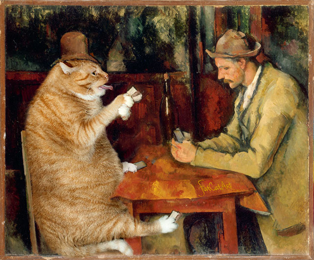 Paul Cézanne, The Cat Card Players | Fat Orange Ginger Cat Paintings Photobombing Famous Masterpieces