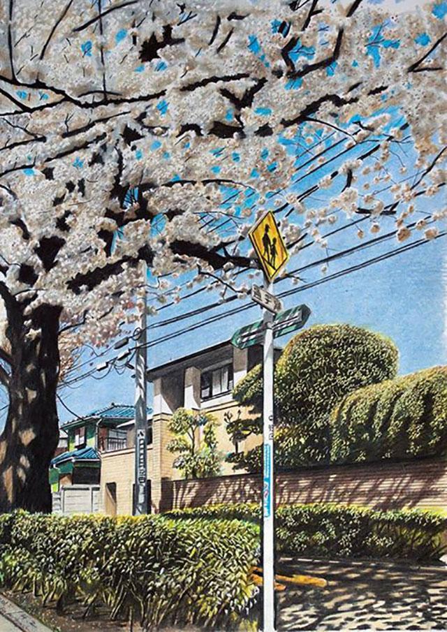 Japanese Neighborhood | Awesome Photorealistic Colored Pencil Drawings, by Ryota Hayashi