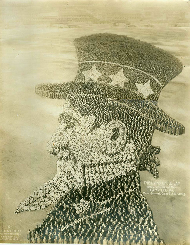 Conceptual Photography : Uncle-Sam // Vintage US Army Photos, With Photographs Made Up Of People Sculptures