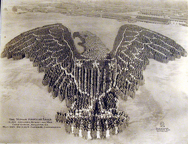 Conceptual Photography : American Eagle // Vintage US Army Photos, With Photographs Made Up Of People Sculptures