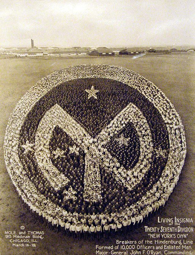 Conceptual Photography : 27th Division Insignia // Vintage US Army Photos, With Photographs Made Up Of People Sculptures