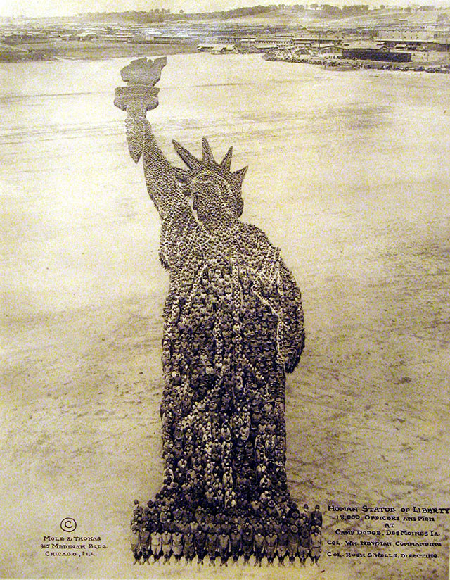 Conceptual Photography : Statue Of Liberty // Vintage US Army Photos, With Photographs Made Up Of People Sculptures
