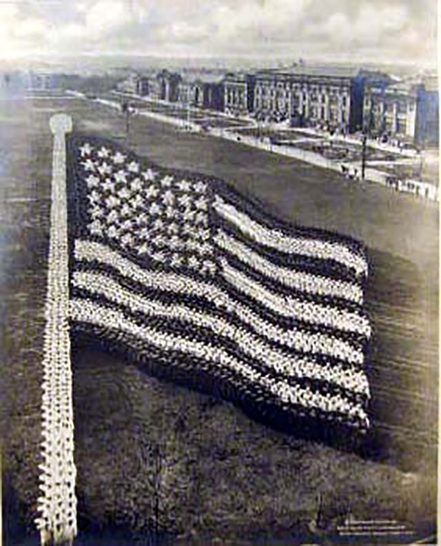 Conceptual Photography : American Flag // Vintage US Army Photos, With Photographs Made Up Of People Sculptures