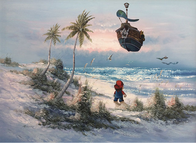 Super Mario Airship | Thrift Store Paintings Altered & Improved For Sale, By Dave Pollot