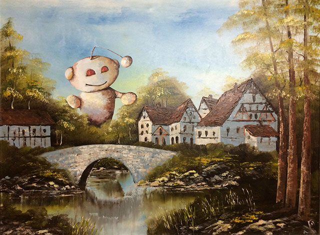 Reddit Painting | Thrift Store Paintings Altered & Improved For Sale, By Dave Pollot