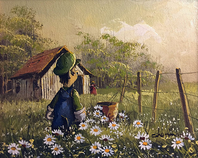 Super Mario Luigi Sunflowers Painting | Thrift Store Paintings Altered & Improved For Sale, By Dave Pollot