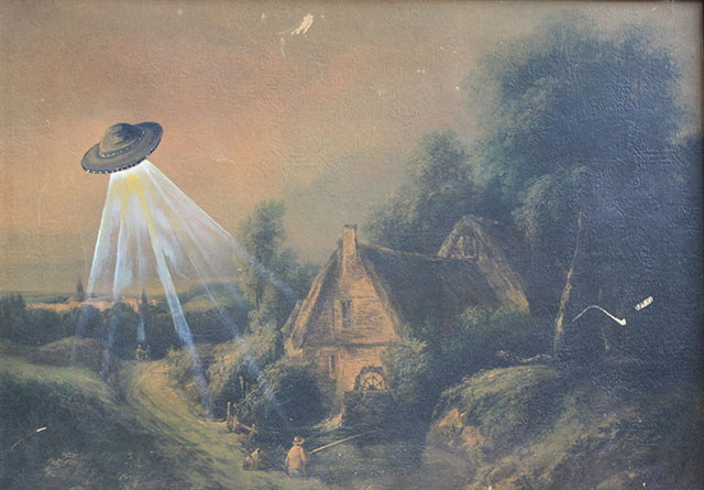 UFO Paintings | Thrift Store Paintings Altered & Improved For Sale, By Dave Pollot