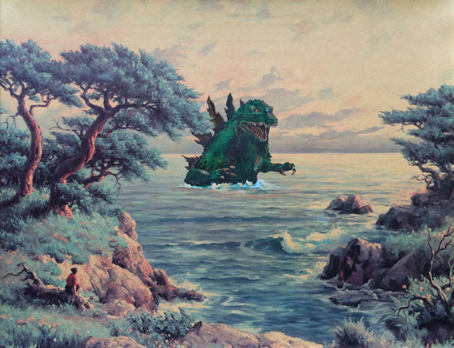 Godzilla Painting | Thrift Store Paintings Altered & Improved For Sale, By Dave Pollot