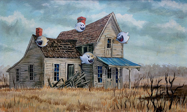 Super Mario Boo Ghosts Painting | Thrift Store Paintings Altered & Improved For Sale, By Dave Pollot