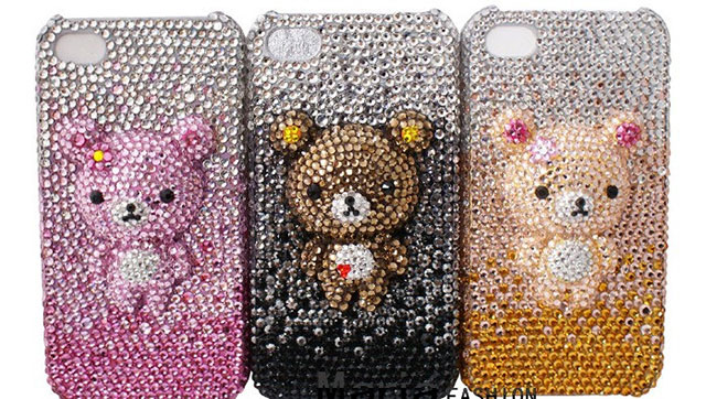 Super Bling Bling Shiny Teddy Bear iPhone Case with Rilakkuma & Friends | 154 Best Cool & Creative iPhone Cases Unique