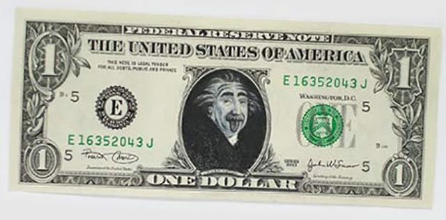 Albert Einstein Dollars | One Dollar Bill Art by Ivan Duval and Jean Sebastien Ides