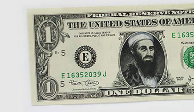 Bin Laden Money | One Dollar Bill Art by Ivan Duval and Jean Sebastien Ides