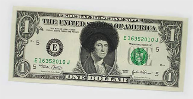 Funky Hair Money | One Dollar Bill Art by Ivan Duval and Jean Sebastien Ides