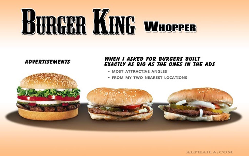 photos of actual fast food compared with their ads