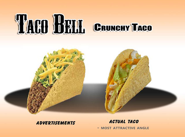 Taco Bell, Cruchy Taco | Shocking Fast Food Comparison Pictures & Photos