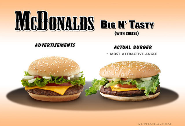 McDonald Big N' Tasty With Cheese | Shocking Fast Food Comparison Pictures & Photos