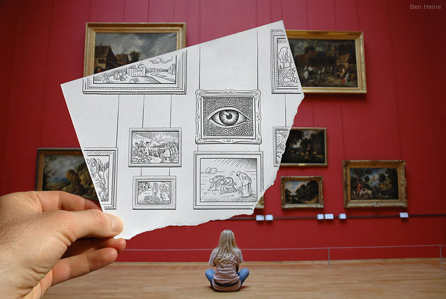 Picture Frames Photo // Pencil Photography Drawing, Pencil vs Camera Ideas by Ben Heine