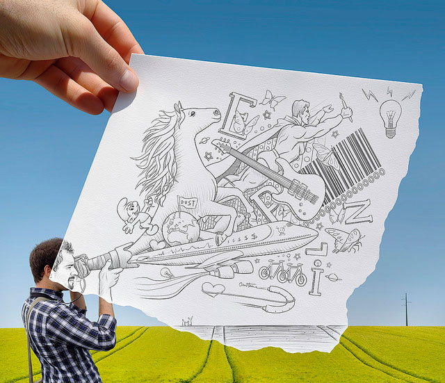 Amazing Camera // Pencil Photography Drawing, Pencil vs Camera Ideas by Ben Heine
