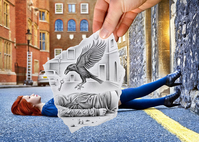 Key & Raven Photos // Pencil Photography Drawing, Pencil vs Camera Ideas by Ben Heine