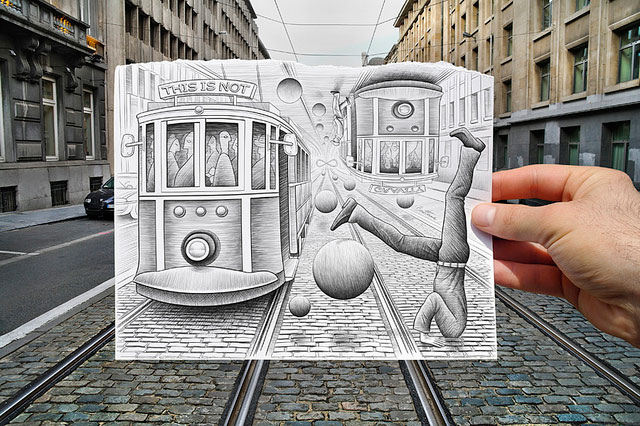 Electric Railway Cars Photo // Pencil Photography Drawing, Pencil vs Camera Ideas by Ben Heine