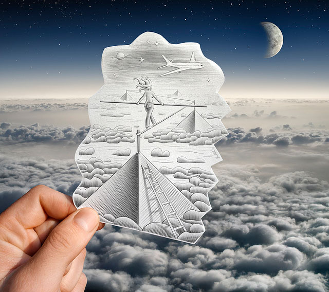 Sky Tightrope Walking Photo // Pencil Photography Drawing, Pencil vs Camera Ideas by Ben Heine