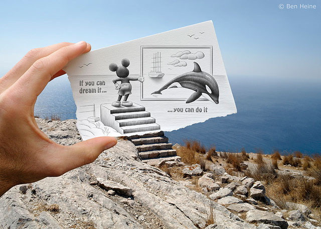 Mickey Mouse Dolphin Photo // Pencil Photography Drawing, Pencil vs Camera Ideas by Ben Heine