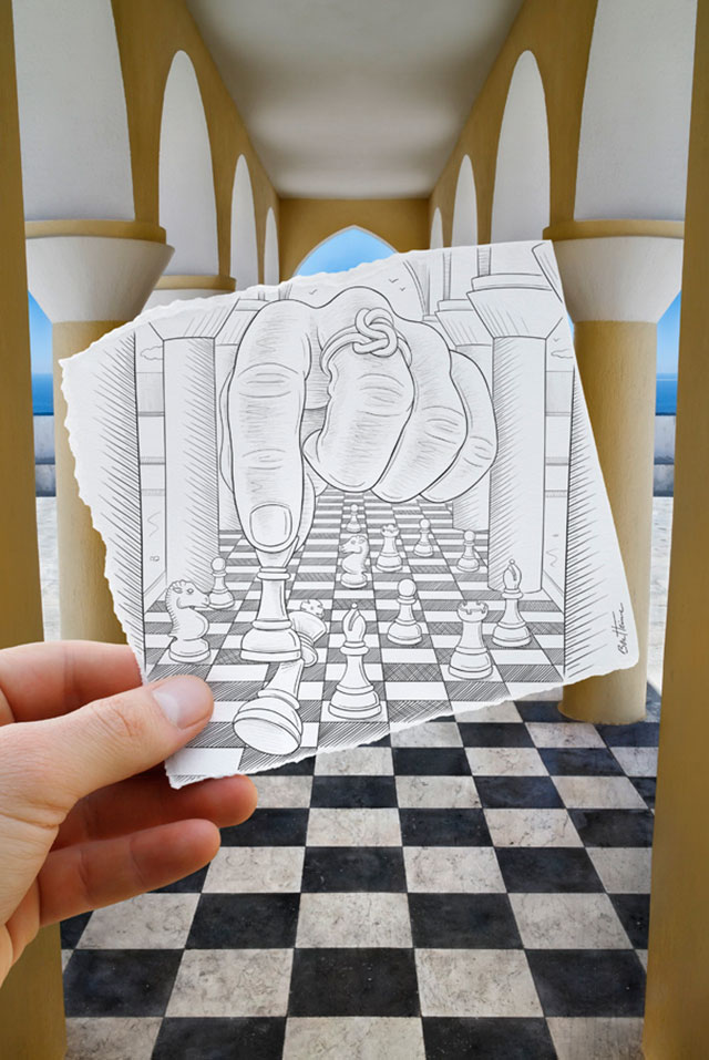 Giant Hand Plays Chess Photo // Pencil Photography Drawing, Pencil vs Camera Ideas by Ben Heine