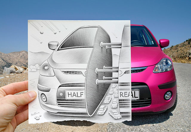 Car Divides In Half Photo // Pencil Photography Drawing, Pencil vs Camera Ideas by Ben Heine