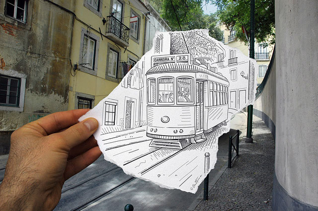 Electric Tram Photo // Pencil Photography Drawing, Pencil vs Camera Ideas by Ben Heine