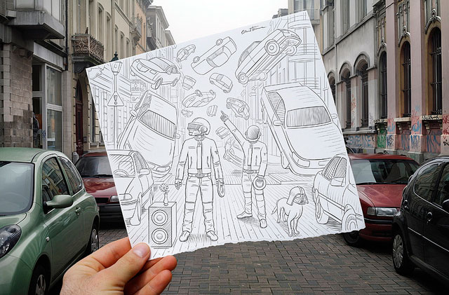 Flying Cars Photo // Pencil Photography Drawing, Pencil vs Camera Ideas by Ben Heine
