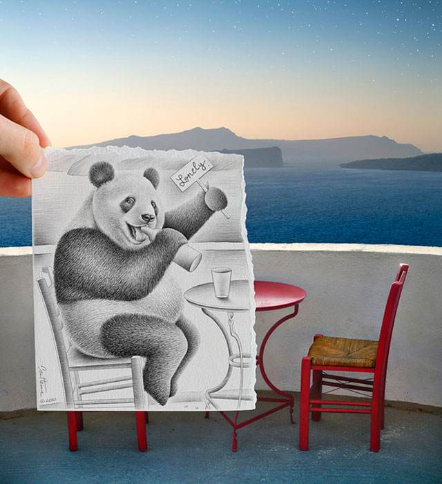 Lonely Panda Drinking Photo // Pencil Photography Drawing, Pencil vs Camera Ideas by Ben Heine