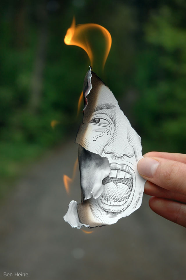 Burning Face Photo // Pencil Photography Drawing, Pencil vs Camera Ideas by Ben Heine