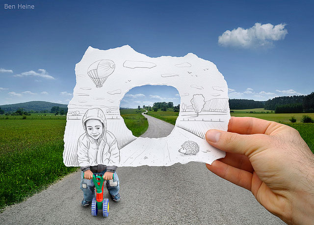 Child Cyclist With Air Balloons Photo // Pencil Photography Drawing, Pencil vs Camera Ideas by Ben Heine