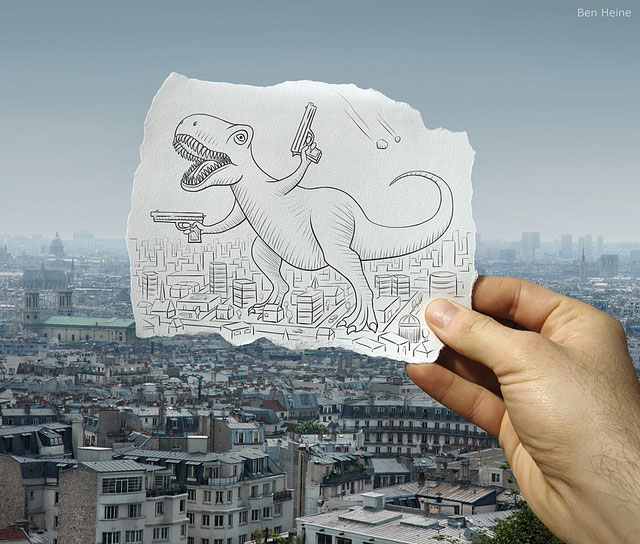 Giant Dinosaur With Guns Photo // Pencil Photography Drawing, Pencil vs Camera Ideas by Ben Heine