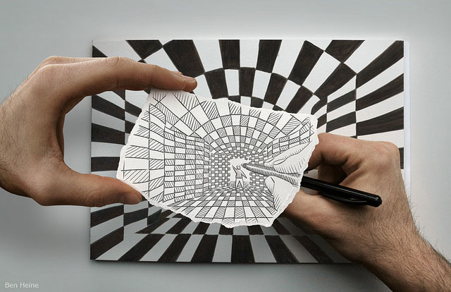 Black And White Tunnel Photo // Pencil Photography Drawing, Pencil vs Camera Ideas by Ben Heine