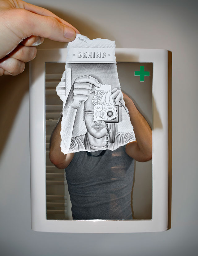 Mirror Image Photo // Pencil Photography Drawing, Pencil vs Camera Ideas by Ben Heine