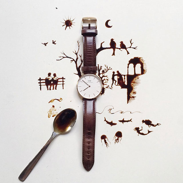 Time Coffee Artwork // I Spilled Coffee Art Images, by Coffee Artist, Giulia Bernardelli