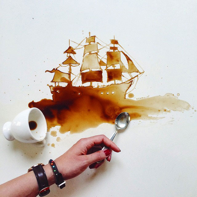 Pirate Ship Coffee Artwork // I Spilled Coffee Art Images, by Coffee Artist, Giulia Bernardelli