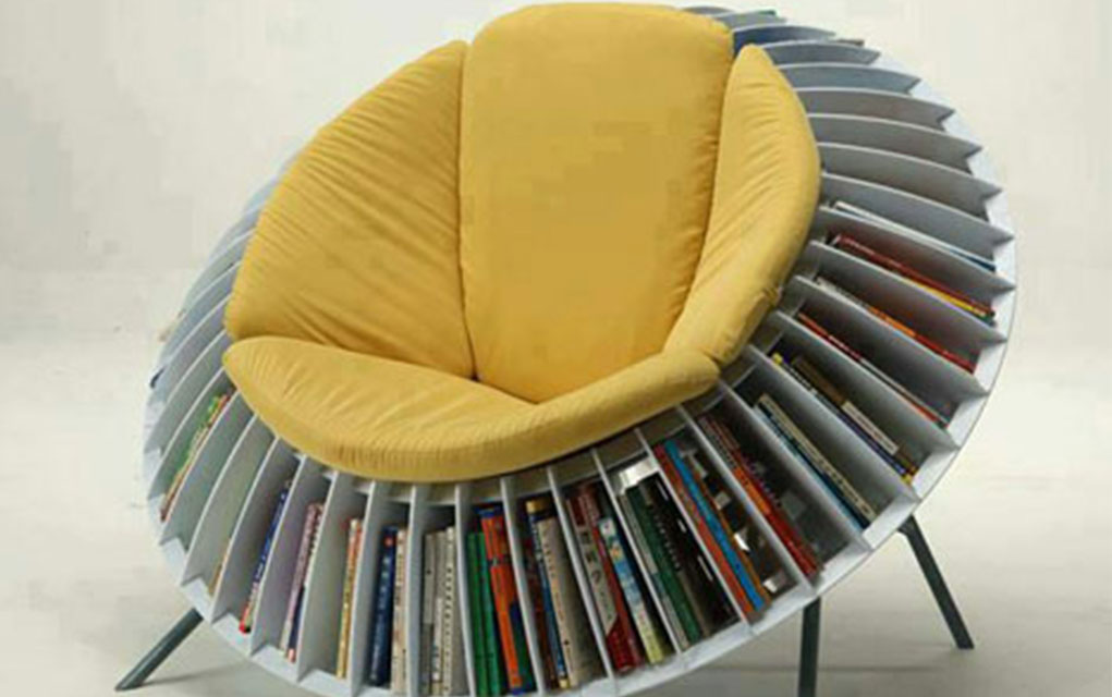 This Sunflower Chair With Smart Integrated Bookcase Turns Reading Into A  Whole New Adventure