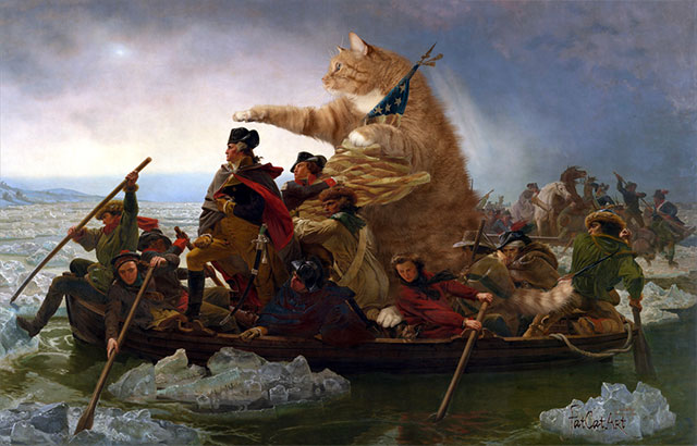 "Emanuel Leutze, ""Washington Crossing the Delaware in a boat piloted by the Fat Cat"" 