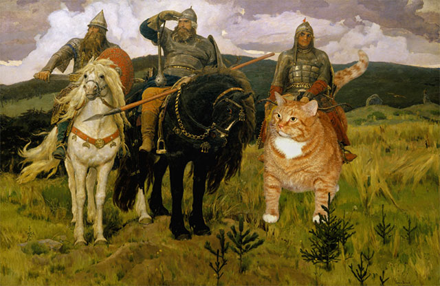 Vasnetsov, The Russian Hero Cat | Fat Orange Ginger Cat Paintings Photobombing Famous Masterpieces