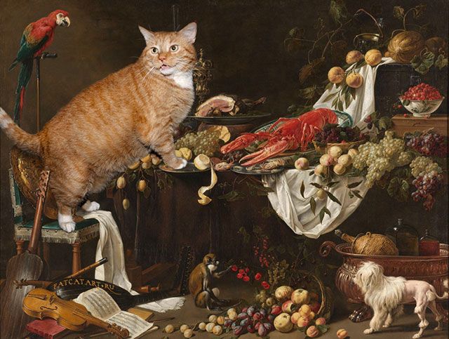 Adriaen van Utrecht, Still Life | Fat Orange Ginger Cat Paintings Photobombing Famous Masterpieces