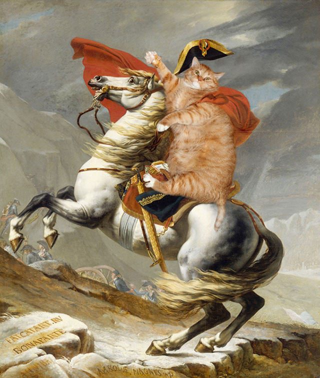Jacques-Louis David, Napoleon Crossing the Alps | Fat Orange Ginger Cat Paintings Photobombing Famous Masterpieces