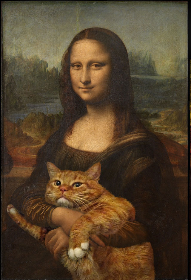 Leonardo da Vinci, Mona Lisa, True version | Fat Orange Ginger Cat Paintings Photobombing Famous Masterpieces