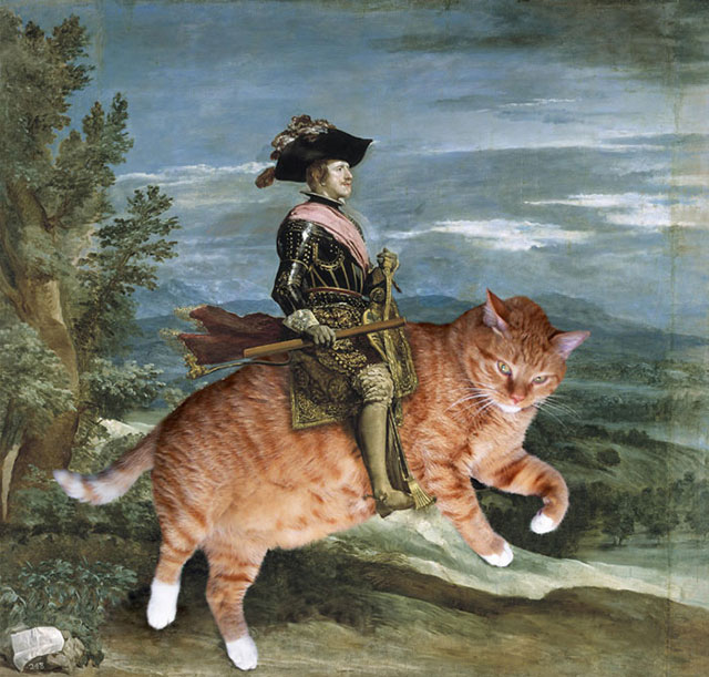 Diego Velazquez, Philip IV on Catback | Fat Orange Ginger Cat Paintings Photobombing Famous Masterpieces
