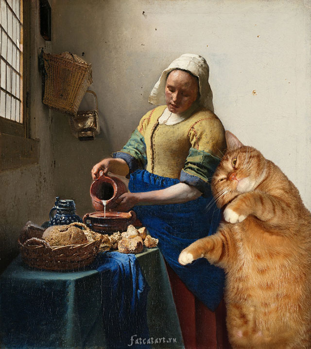 Johannes Vermeer, The Kitchen Maid and the Cat | Fat Orange Ginger Cat Paintings Photobombing Famous Masterpieces